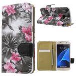 Flower pouzdro na mobil Samsung Galaxy S7 - černé pozadí - 1/7