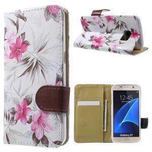 Flower pouzdro na mobil Samsung Galaxy S7 - bílé pozadí - 1