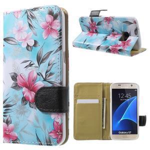 Flower puzdro pre mobil Samsung Galaxy S7 - modré pozadí - 1