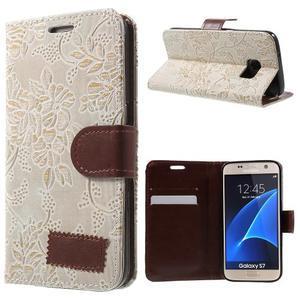 Kvetinové peňaženkové puzdro pre Samsung Galaxy S7 - béžovobiele - 1