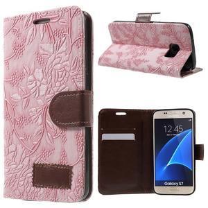 Kvetinové peňaženkové puzdro pre Samsung Galaxy S7 - ružové - 1