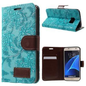Květinové pěněženkové pouzdro na Samsung Galaxy S7 - modré - 1