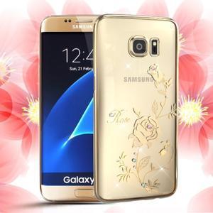 Swarowski plastový obal s kamínky na Samsung Galaxy S7 - růže