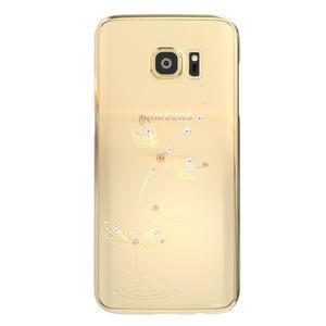 Swarowski plastový obal s kamínky na Samsung Galaxy S7 - vážky - 1