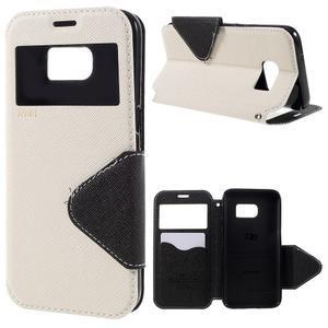 Diary puzdro s okienkom pre Samsung Galaxy S7 - biele - 1