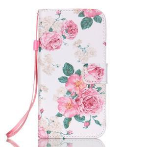Kvetinové peňaženkové puzdro pre Samsung Galaxy S7 Edge - 1