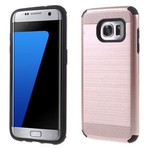 Odolný dvoudílný obal na Samsung Galaxy S7 edge - zlatorůžový - 1