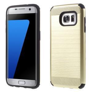 Odolný dvoudílný obal na Samsung Galaxy S7 edge - zlatý - 1