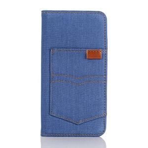 Jeans puzdro pre mobil Samsung Galaxy S7 edge - modré - 1