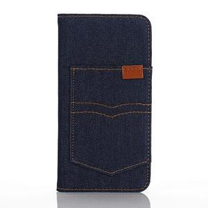 Jeans puzdro pre mobil Samsung Galaxy S7 edge - tmavomodré - 1