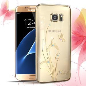 Swarowski plastový obal s kamínky na Samsung Galaxy S7 Edge - orchidej