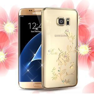 Swarowski plastový obal s kamínky na Samsung Galaxy S7 Edge - růže