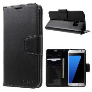 Rich PU kožené puzdro pre Samsung Galaxy S7 edge - čierne - 1