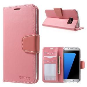 Rich PU kožené puzdro pre Samsung Galaxy S7 edge - ružové - 1