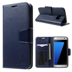 Rich PU kožené puzdro pre Samsung Galaxy S7 edge - tmavomodré - 1