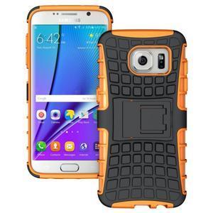 Odolný outdoor kryt na Samsung Galaxy S7 edge - oranžový - 1