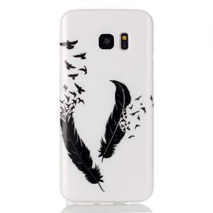 Softy gelový obal na Samsung Galaxy S7 edge - ptačí peříčka - 1