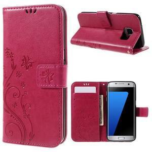 Butterfly PU kožené puzdro pre Samsung Galaxy S7 edge - rose - 1