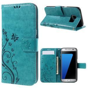 Butterfly PU kožené puzdro pre Samsung Galaxy S7 edge - modré - 1