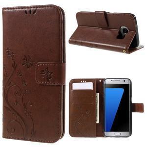 Butterfly PU kožené puzdro pre Samsung Galaxy S7 edge - hnedé - 1