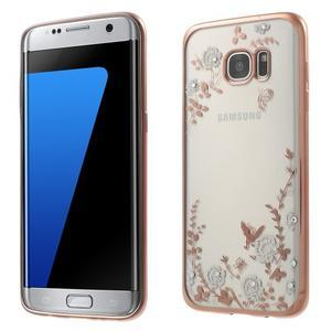 Nice gelový obal s kamínky na Samsung Galaxy S7 edge - bílé květiny - 1