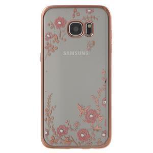 Nice gelový obal s kamínky na Samsung Galaxy S7 edge - růžové květiny - 1