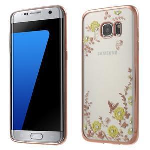 Nice gélový obal s kamienkami pre Samsung Galaxy S7 edge - žlté kvety - 1