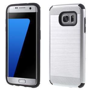 Odolný dvoudílný obal na Samsung Galaxy S7 edge - stříbrný - 1