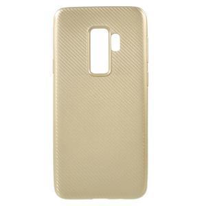 Flexi gélový obal so štruktúrou na Samsung Galaxy S9 Plus - zlatý - 1