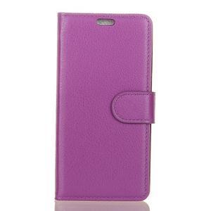 Litchi PU kožené púzdro na Sony Xperia L2 - fialové - 1