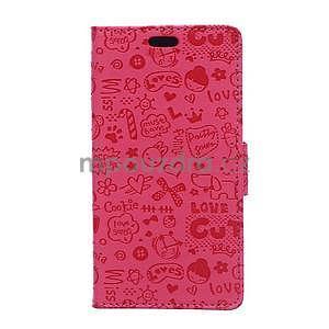 Rose texturované pouzdro na Sony Xperia M4 Aqua - 1