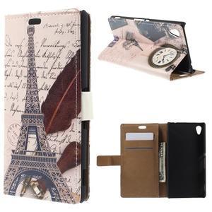 Peněženkové pouzdro na Sony Xperia M4 Aqua - Eiffelova věž - 1