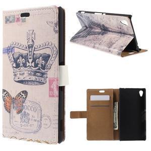 Peňaženkové puzdro pre Sony Xperia M4 Aqua - koruna motýľ - 1