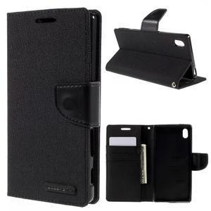 Canvas PU kožené/textilné puzdro pre Sony Xperia Z5 - čierne - 1