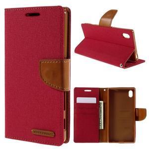 Canvas PU kožené/textilné puzdro pre Sony Xperia Z5 - červené - 1