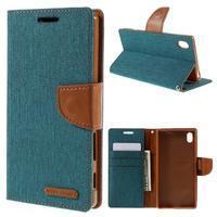 Canvas PU kožené/textilné puzdro pre Sony Xperia Z5 - zelené - 1/7