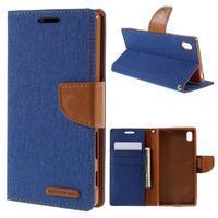 Canvas PU kožené/textilné puzdro pre Sony Xperia Z5 - modré - 1/7