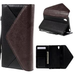 Štýlové Peňaženkové puzdro Sony Xperia Z5 - hnedé/čierne - 1