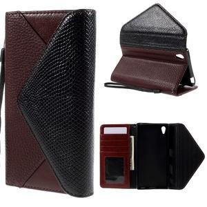 Stylové peněženkové pouzdro Sony Xperia Z5 - černé/hnědé - 1