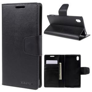 Sonata PU kožené peněženkové pouzdro na Sony Xperia Z5 - černé - 1