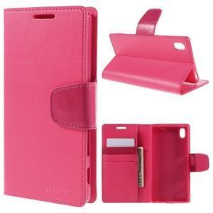 Sonata PU kožené peněženkové pouzdro na Sony Xperia Z5 - rose - 1