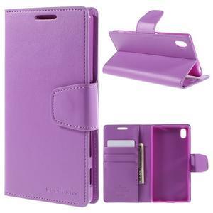 Sonata PU kožené Peňaženkové puzdro pre Sony Xperia Z5 - fialové - 1