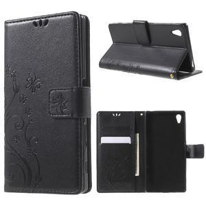 Butterfly PU kožené pouzdro na Sony Xperia Z5 - černé - 1