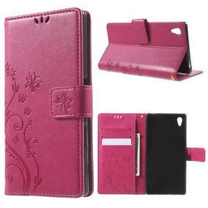 Butterfly PU kožené pouzdro na Sony Xperia Z5 - rose - 1