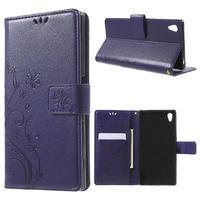 Butterfly PU kožené pouzdro na Sony Xperia Z5 - fialové - 1/7
