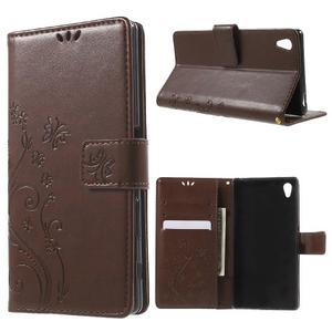 Butterfly PU kožené puzdro pre Sony Xperia Z5 - hnedé - 1