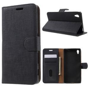 Grid PU kožené pouzdro na Sony Xperia Z5 - černé - 1