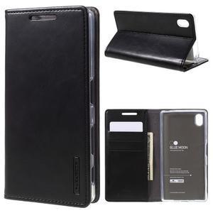 Moon PU kožené puzdro pre Sony Xperia Z5 - čierne - 1