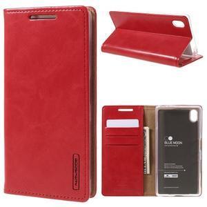 Moon PU kožené pouzdro na Sony Xperia Z5 - červené - 1