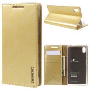 Moon PU kožené puzdro pre Sony Xperia Z5 - zlaté - 1